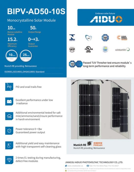 Solar railing datasheet
